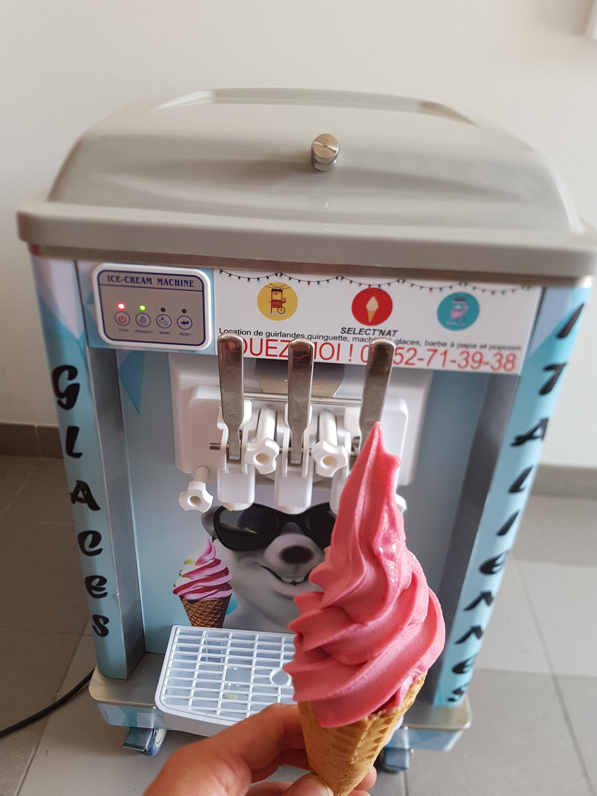 Machine-a-glace-italienne-avec-glace-a-la-fraise.